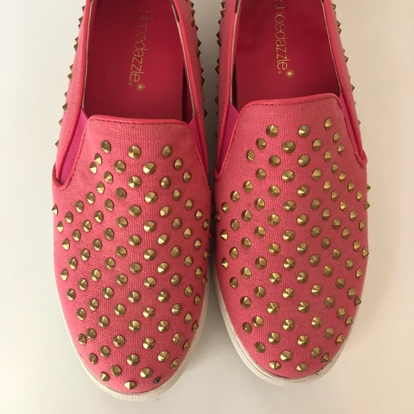 f749d89a3 Shoe Dazzle Shoes | Pink Studded Slip Ons | Poshmark